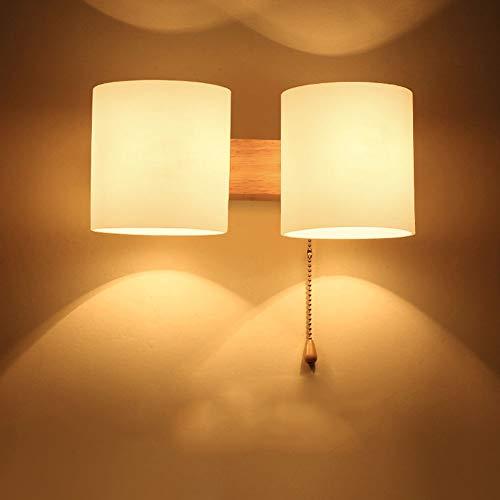 Honey WYJ wandlamp van massief hout, creatieve Japanse stijl, trommels, glazen lampenkap, wandlamp, slaapkamer, bedlampje, woonkamer, gang, trap, balkon, E27, wandlamp