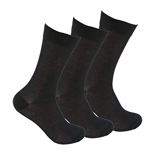 Calcetines ejecutivos de algodón (3 pares) SIN GOMA y SIN COSTURAS para pies delicados. Calcetines ejecutivos de algodón 100% con puño antipresión. No se caen y evitan roces (Negro, Talla única)
