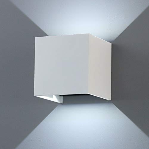 K-Bright Lámpara de pared de aluminio, Diseño moderno, Luz nocturna para Dormitorio, Salón, Cocina, Pasillo, Pasillo y Escalera IP65 Impermeable [Blanco]