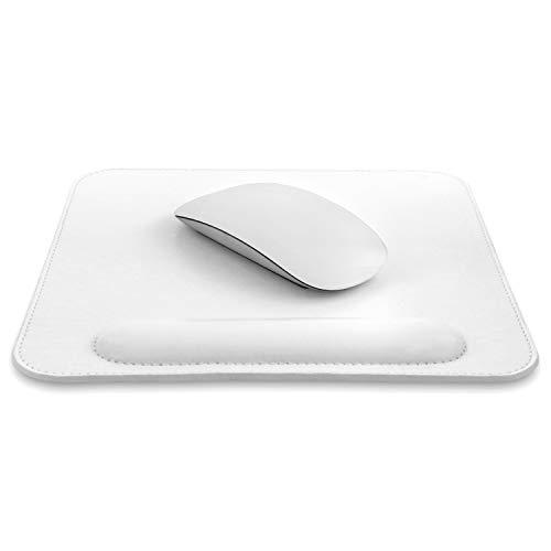 Londo OTTO311 - Alfombrilla de ratón de Piel con reposamuñecas, Blanco