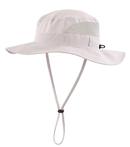 Connectyle Womens Outdoor Mesh Boonie Sun Hat Summer Wide Brim UV Protection Fishing Hat Safari Cap Light Grey