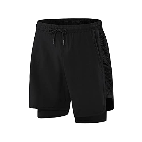 Pantalones cortos casuales para hombre 2 en 1 Pantalones cortos para correr Pantalones cortos de secado rápido Gimnasios Fitness Culturismo Entrenamiento Bolsillos incorporados Cortos,Negro,XXL