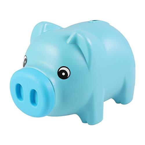 Toyvian Hucha de plástico con forma de cerdo para monedas y dinero en efectivo, para regalo de niños azul