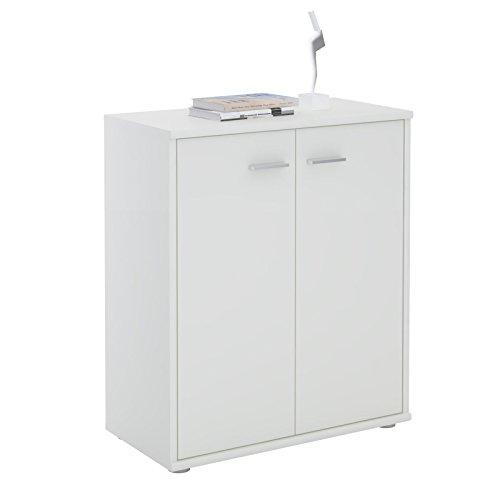 CARO-Möbel Kommode Sideboard Schrank Tommy in weiß, Anrichte mit 2 Türen inklusive Einlegeboden