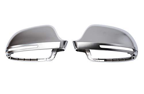Aluminium Look Design Spiegel Abdeckung Kappe Gehäuse Links+Rechts Set