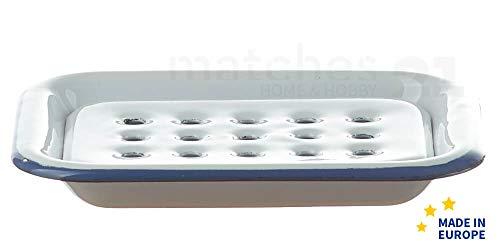 matches21 Email Seifenunterlage rechteckig/Retro Emaille Seifenschale zum Stellen weiß 13 x 10 x 2 cm