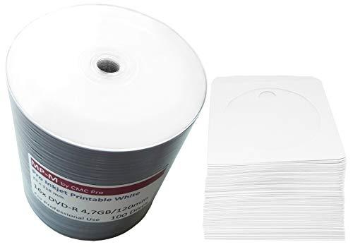 100 Inkjet Printable DVD-R Weiß, Bedruckbare DVD Rohlinge MP-Pro 4,7GB 16x für Tintenstrahldrucker + Gratis 100 CD Papierhüllen mit Folienfenster