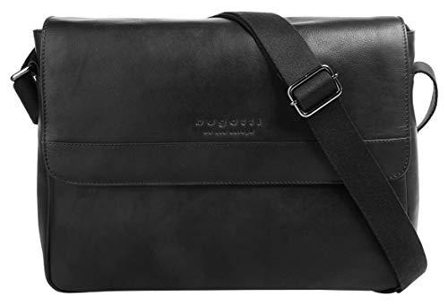 """Bugatti Corso Messenger Bag für Damen und Herren mit 13"""" Laptopfach, Unisex Umhängetasche Kuriertasche Schultertasche, Schwarz"""