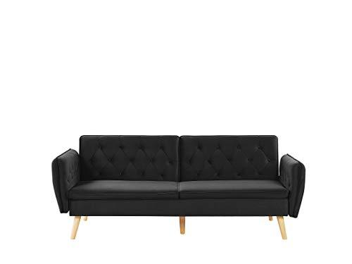 Beliani 2-Sitzer Sofa mit Schlaffunktion aus Samtstoff schwarz Bardu