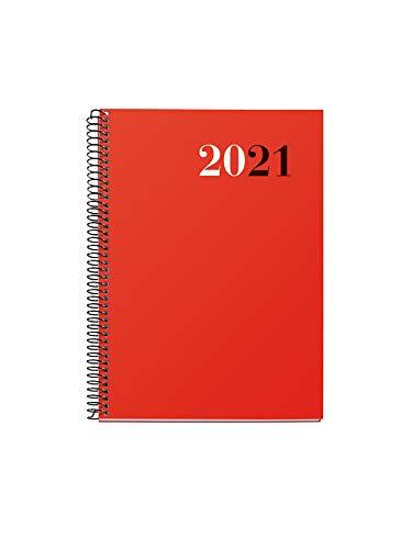 MIQUELRIUS - Agenda 2021 City - Español, Día Página, Tamaño 155 x 213 mm (~A5), Papel 70g, Cubierta Polipropileno Opaco, Color Rojo