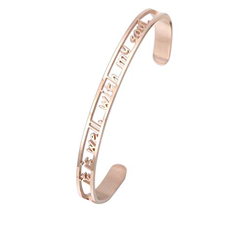 Daesar Edelstahl Armband für Damen Freundschaftsarmband it is Well with My Soul Rosegold Armreifen Uhr Frauen Breit 6 MM