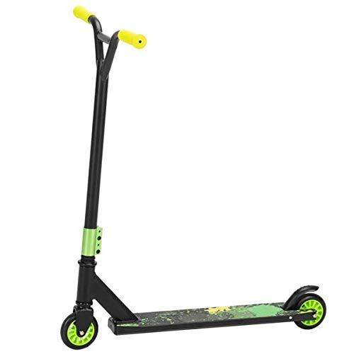 HUIPPY Mini Kick Scooter para niños de 2 ruedas de acero de aluminio Freestyle Trick - Ruedas de PU - Puños suaves para manillar - Kick Bike/Bicicleta adecuada para 5 a 15 niños (verde-negro)