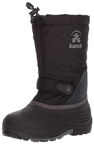 Kamik Girls' Waterbug5 Snow Boot, Black/Charcoal, 4 Medium US Big Kid