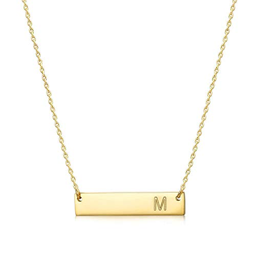 MOMOL Bar Pendant Initial Necklace, 18K Gold Plated Stainless Steel Bar Necklace Dainty Delicate Initial Necklace Simple Personalized Name Letter M Necklace for Women Girls