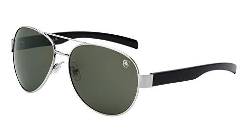 KHAN Turbo - Straight Temple Classic Aviators Sunglasses (Green Silver)