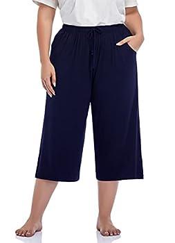 ZERDOCEAN Women s Plus Size Wide Leg Casual Lounge Pants Comfy Capris Relaxed Pajama Bottoms Drawstring Pockets Navy 3X
