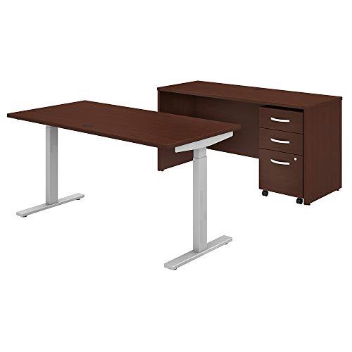 Bush Business Furniture Studio C Height Adjustable Standing Desk, Credenza and Mobile File Cabinet, 60W x 30D, Harvest Cherry