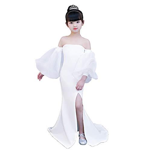 Jian E& Kostuums danskleding piano performance-kleding kinderen loopbrug avondjurk wit persoonlijkheid lantaarn mouwen lang deel