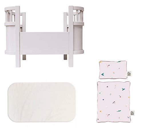 Sebra Puppenbett, Spielbett ohne Seitengitter - staubiges rosa + passende Matratze + Bettwäsche Singing Birds