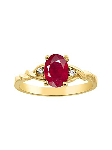 RYLOS Rings for Women 14K Gold Plated Silver Classic Style Birthstone Ring 7X5MM Oval Gemstone & Genuine Diamonds Color Stone Jewelry for Women Sterling Silver Rings for Women Size 5,6,7,8