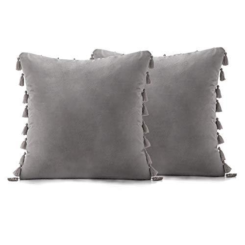 All--In Juego de 2 fundas de cojín para sofá, terciopelo suave, funda de cojín decorativa (gris, 50 x 50 cm).