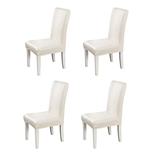 Beyonder Stretch Solid Pu Leather Waterproof Dining Chair Cover Slipcover Removable Washable Short Dining Chair Cover Protector Seat Solid Slipcovers for Hotel,Dining Room,Wedding (Champagne, 4)