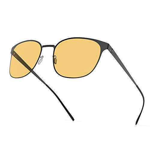 Blaulichtfilter Brille Computerbrille Blaulicht Brille - Avoalre Anti Patentiertes schraubenloses Metallrahmen PC Gamer Brille, filtern 95% des Blaulichts Anti-Müdigkeit, Anti-Blaulicht (Gelb)