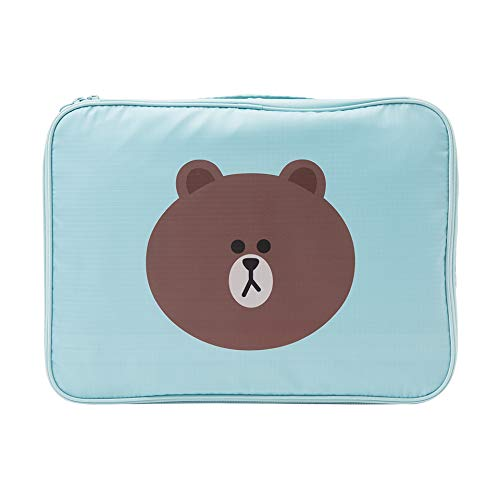 LINE FRIENDS Cosmetic Multi Bag - BROWN Character Travel Pouch for Toiletry and Makeup Dopp Kit Large