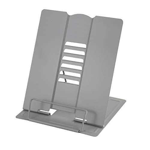 Leggio Libri, MSDADA Supporti per Libri da Cucina, Metal Book Stand Leggio da Tavolo con 6 Altezze Regolabile per Libri, Ricette, Musicale, iPad, Tablet(Grigio)