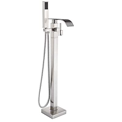 Senlesen Stainless Steel Barthroom Tub Filler Faucet Floor Mounted Bathtub Shower Faucet Waterfall Spout Free Standing Tub Mixer Tap with Handheld Sprayer