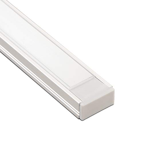SO-TECH® LED Profil 11 Alu mit opalfarbiger Abdeckung 2m + Endkappen für LED Streifen