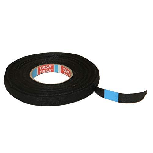 TESA Gewebeband PET-Vlies 51608 Isolierband für Kabelbäume Baumwolle Klebeband (9mm x 15m), Schwarz