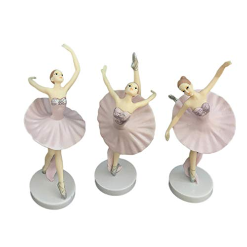 Vosarea - Figuras de Bailarina Bailarina, Figuras Bailarinas, decoración de Ballet, Adorno para Escritorio, Oficina, Navidad, Regalo de Año Nuevo, 3 Piezas (Blanco)