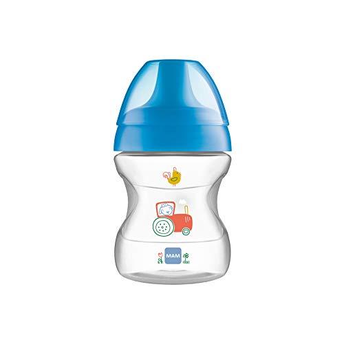 MAM Learn to Drink Trinkbecher 190 ml, Schnabelbecher für erste Trinkversuche, Trinklernbecher mit ergonomischer Form, 6+ Monate, blau