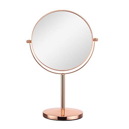 Miroir de maquillage double face à LED Rotation à 360 degrés Rotation de 8 pouces 10 fois Loupe à miroir HD Miroir de bureau Miroir pour meuble en or rose, Rose gold