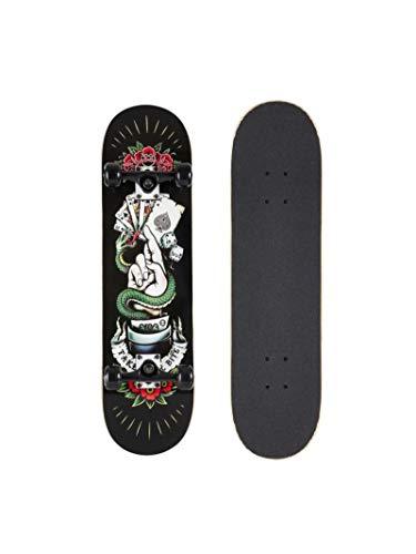 AREA Komplett Skateboard für Einsteiger, 8 inch mit Aluminium Truck und ABEC 5 Kugellager (TYB Black)