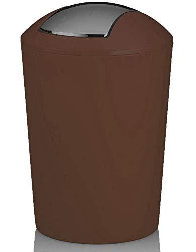 MERCURY TEXTIL - Papelera con Tapa oscilante, Cubo de Basura para baño de plástico (1,7 litros, Marron)