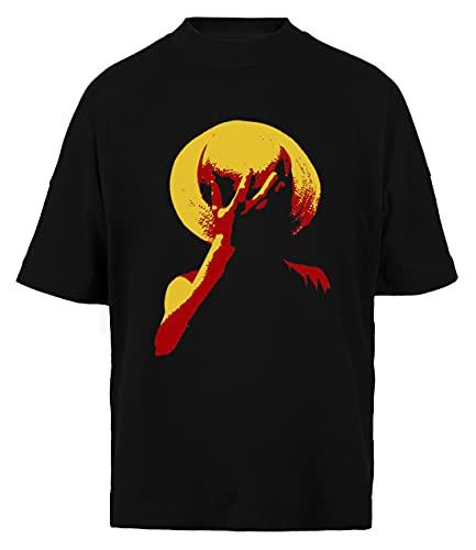 Wigoro Cannuccia Cappello - Uno Pezzo Unisex Uomo Donna Larga T-Shirt Nera Cotone Organico Unisex Baggy T-Shirt Black