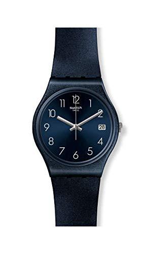 Swatch Damen Analog Quarz Uhr mit Silikon Armband GN414