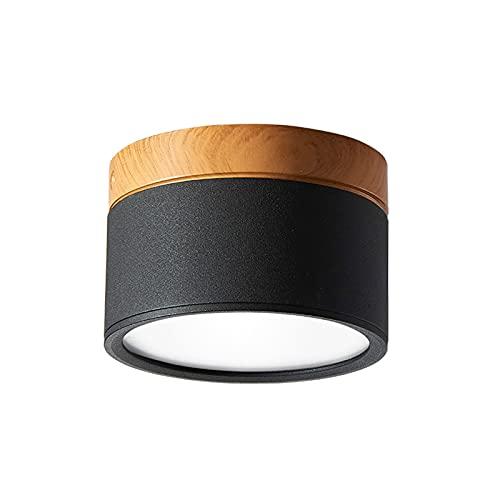 Temgin Focos Superficie Negro Redondo 12W 3000K Focos para Techo Lámpara de Techo Blanco Cálido Aluminio Para Baño Cocina Pasillo Sala