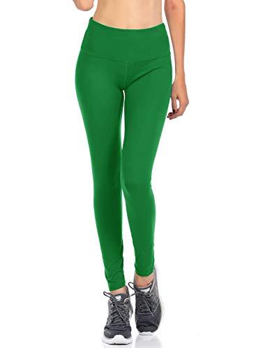 VIV Collection Signature Leggings Yoga Waistband Soft, Stretchy, Elastic Waistband (XL, Green)