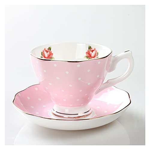 Essinged Hueso China Tazas de café Platos Eleware Europeo Estilo Pastoral Europeo Impresión Floral Tarde Conjunto de té de Porcelana Tazas y Placas 170ml (Color : 13)