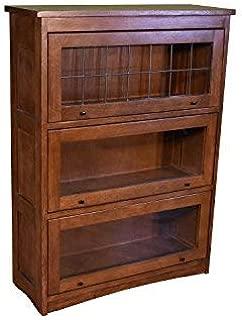 Mission Craftsman Quarter Sawn Oak 3 Stack Leaded Glass Barrister Bookcase
