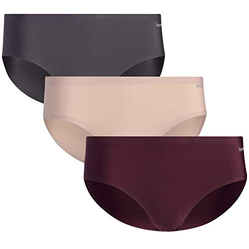 Reebok Women's Underwear - No-Show Hipster Panties (3 Pack), Size Small, Charcoal/Burgundy/Rose Dust