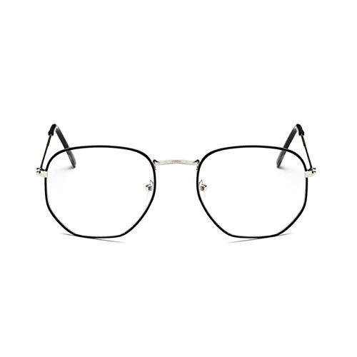 DLSM Gafas de Sol Metal pequeño Marco Mujer Gafas de Sol clásico Cuadrado Vendimia Rosa océano Lente Moda Colorido Mercurio Espejo Sol Vidrio conducción-Negro Plata