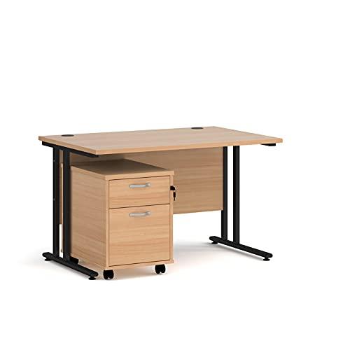 Maestro - Juego de 25 escritorios, 800 mm de profundidad, recto, pedestal móvil con 2 cajones con pata voladiza, color haya, 120 cm
