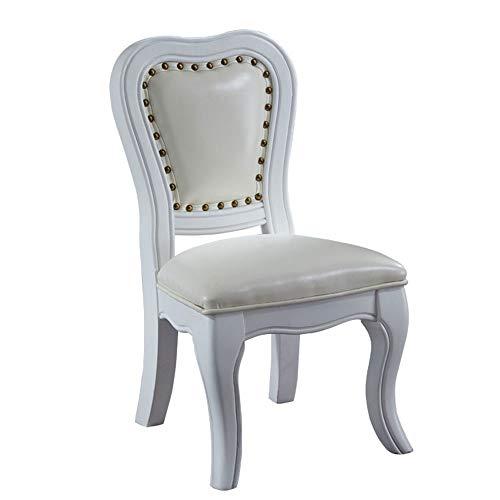 ZMING American Home Solid Wood Chair, lederen schoenenbank, make-upstoel, kinderstoel, geschikt voor woonkamer, eetkamer, hoge dichtheidsspons binnen (kleur: blauw/bruin/groen/wit