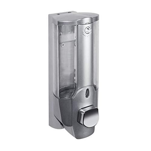 73JohnPol Dispensador de champú Manual de Ducha desinfectante de jabón de Montaje en Pared de 350 ml con Cabezal de Bloqueo para baño (Color: Plateado)