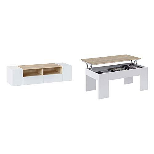 Habitdesign 0F6624A-Mueble de Salon, modulo Comedor Tamiko, Acabado Blanco Artik Canadian +...