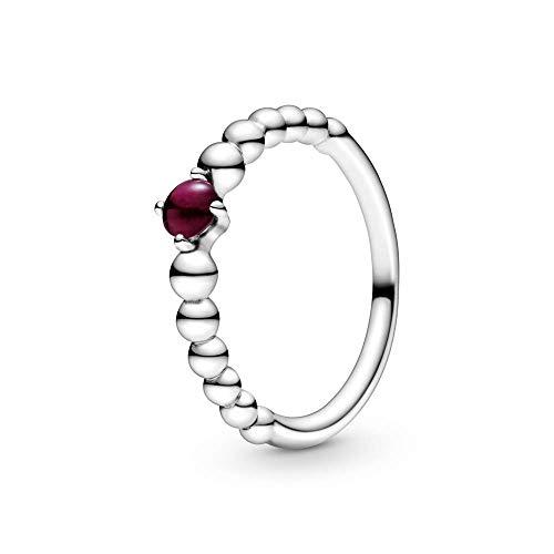 Pandora Anillo solitario para mujer, plata de ley 925, talla 56, color rojo